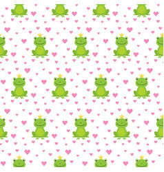 Seamless pattern with cute frogs and crowns vector