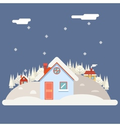 Seasons Change winter Village Hills Field vector