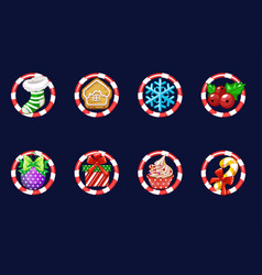 set christmas icons new year decoration vector image