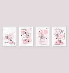 Set creative minimalist hand draw floral vector