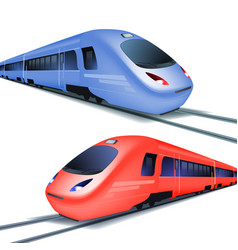 Set high speed trains isolated on white vector