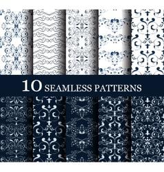 set of 10 seamless retro patterns vector image