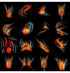 Set of Flames different shapes on a black vector image
