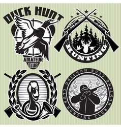 Set of hunting label with wild ducks and vector