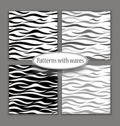 set of seamless patterns of waves sea theme black vector image