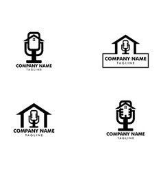 Set podcast home icon logo design element vector
