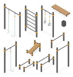 Set street workout area elements vector