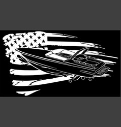 Silhouette boat speed motorboat yacht vector
