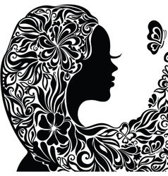 Silhouette of a young woman with flowers in hair vector image