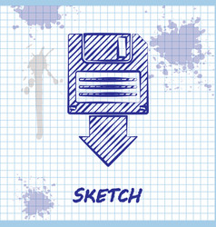 Sketch line floppy disk backup icon isolated on vector
