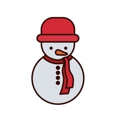 Snowman with red hat and scarf vector