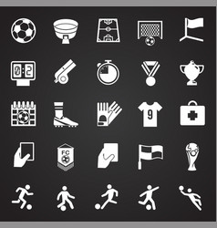 Soccer icons set on black background for graphic vector