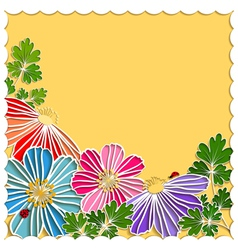 Springtime Colorful Paper Cut Flower vector