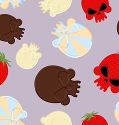 Sweets for Halloween seamless pattern Skull made vector image