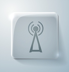 tower of the wi fi Glass square icon vector image