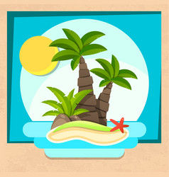 tropical island with palm trees and ocean vector image