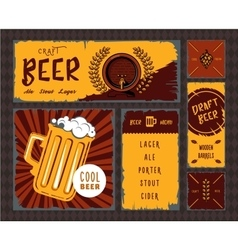 Vintage craft beer banner set vector