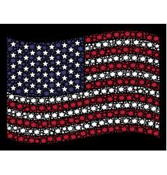 Waving american flag stylization of bang vector