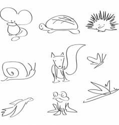 wildlife line illustrations vector image