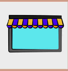 Window with striped awning icon vector