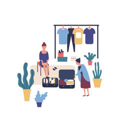 woman selling stylish vintage clothes at garage vector image