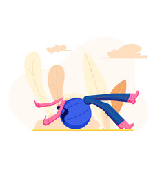 Young girl in sports wear relaxing on fitball vector