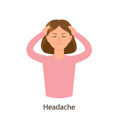 Young sick girl suffering from headache vector