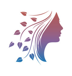 beautiful woman silhouette with leaves vector image