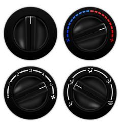 car air conditioning black round selectors vector image
