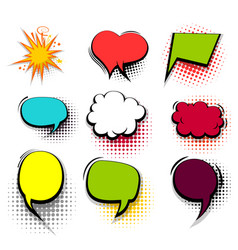 funny set colored comic speech bubble heart burst vector image vector image