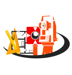 geodesy and building planning vector image