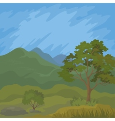 Mountain landscape with tree vector image vector image