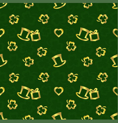 stpatricks day seamless repeat patterngolden vector image