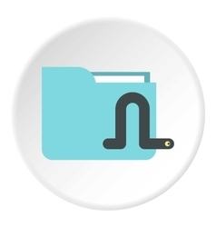 Worm in e-mail icon flat style vector