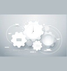 abstract gear wheel geometric and social icons vector image vector image