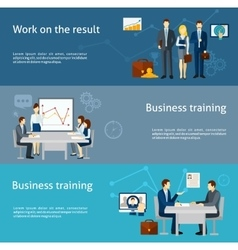 Business coaching investment flat banners set vector image