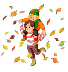 happy family together on autumn playing with leave vector image