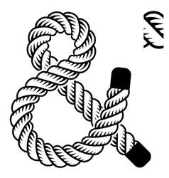black rope ampersand symbol vector image vector image
