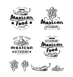 Mexican food labels badges and design elements vector