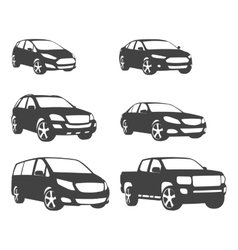 Sets of silhouette cars and on the road vehicle vector image vector image