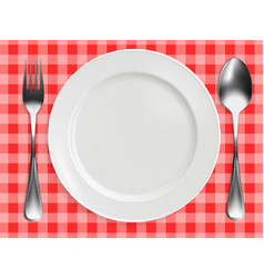 spoon on red checkered tablecloth vector image
