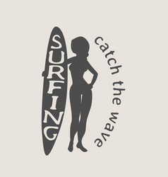 surfing logo icon or symbol with silhouette of vector image