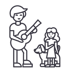 man with girl and dogfather with daughter vector image