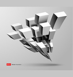 3d composition white cube shapes in perspective vector image