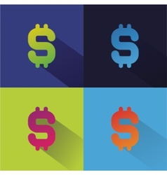 Abstract flat money set isolated on colored vector