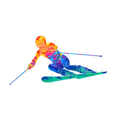 Abstract skiing descent giant slalom skier from vector