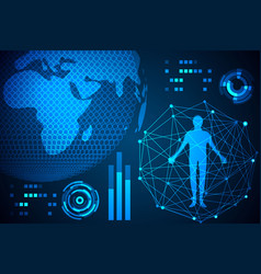 abstract technology concept human body in digital vector image