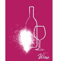 art grapes with wine bottle and glass vector image vector image