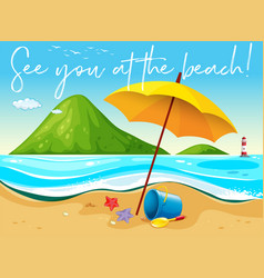 Beach scene with word see you at the beach vector