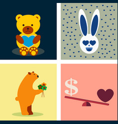 Big valentines day set with cute funny animals vector